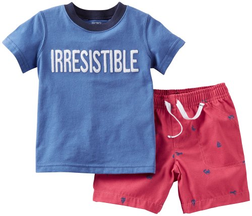 Carters Boys Baby Irresistible Shirt & Short Set 12 Mo Navy/Red front-996127