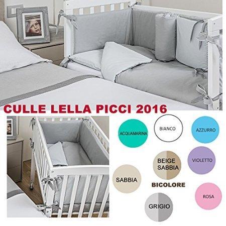 LETTINO CULLA LELLA PICCI BIANCA CON TESSILE LILLA (Variante 05)