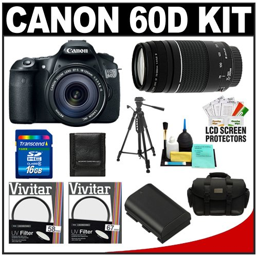 Canon EOS 60D Digital SLR Camera Body with EF-S 18-135mm IS Lens & 75-300mm III Lens + 16GB Card + Battery + Case + Tripod + Accessory Kit