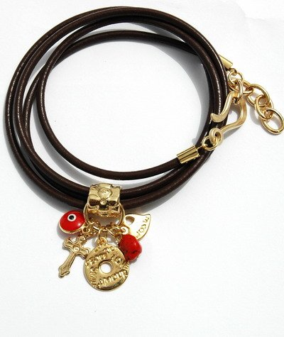 Cross Bracelet with Lucky Charms Heart and Evil Eye