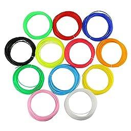 [PLA 3D Filament Material - 12Colors] - iEGrow 1.75mm PLA 3D Printing Filament Material 30G 32 Feet Lengths 3D Print Ink in 12 Different Colors for 3D Printer Pen