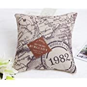 Claybox Decorative 18 x 18 Inch Linen Cloth Pillow Cover Cushion Case Nautical Chart