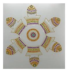 Charu Fashionz Plastic Handcrafted Rangoli (47 cm x 47 cm x 0.3 cm, CER155)