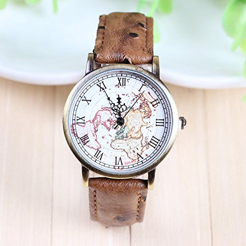 High Quality FeiFan Brand Leather Strap Map watches(Light Brown) image