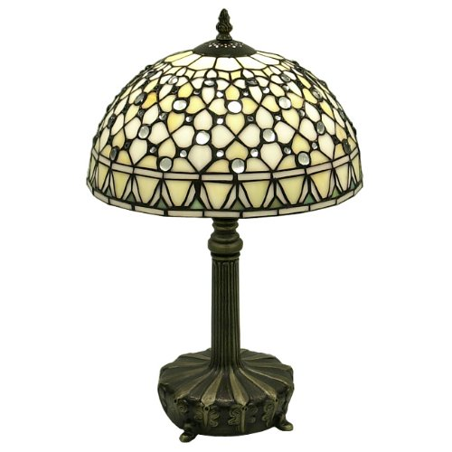 Warehouse of Tiffany's T12043TGRA Tiffany-Style White Jewel 19-Inch Table Lamp