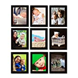 Clixicle Customized 6inx8in Photo Frame Wall Decor Collage Brown , Set of 9, **FREE** your photos included