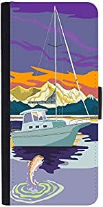 Snoogg Sailboat Retrodesigner Protective Flip Case Cover For Apple Iphone 6