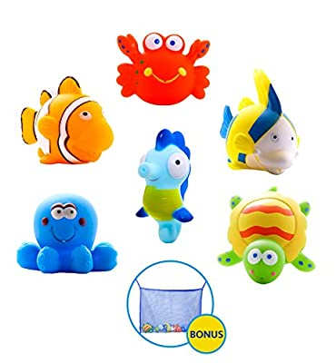 Large Educational Water Squirties Ocean Animals. 6-Pack. Bath Organizer Included. Fun Bathtub Mildew Resistant Floating Squirter Toys for Baby, Toddlers, Kids. by Mara's box that we recomend personally.