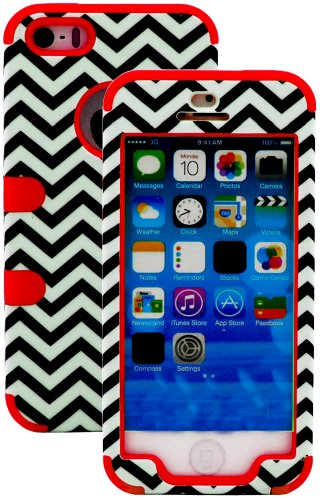 Mylife (Tm) Bright Red And Black - Chevron Series (Neo Hypergrip Flex Gel) 3 Piece Case For Iphone 5/5S (5G) 5Th Generation Itouch Smartphone By Apple (External 2 Piece Fitted On Hard Rubberized Plates + Internal Soft Silicone Easy Grip Bumper Gel)
