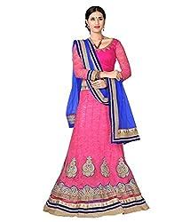 Manvaa Women Net Lehenga Choli(Pink_ASNB2116pink_Free Size)