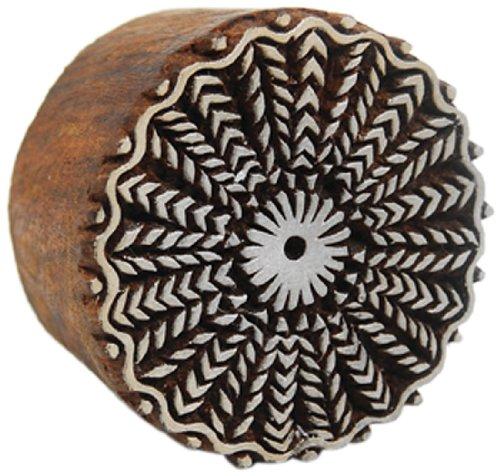 International Arrivals Blockwallah Wooden Stamp, Wheat Circle