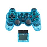 Saloke Wireless Gaming Controller for Ps2 Double Shock (Clear Blue)