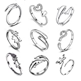 Yosoo 9pcs Heart Infinity Symbol Ring Dolphin Crystal Assorted Silver Open Finger Rings