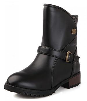 IDIFU Women's Sweet Fall Strap Buckle Chunky Martin Ankle Boots Black 8 B(M) US