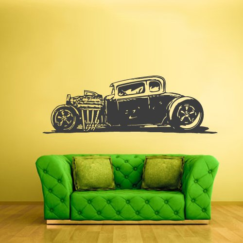 Wall Decal Vinyl Sticker Decals Hot Rod Car Auto Automobile Retro Old Muscule (Z2358) front-887568