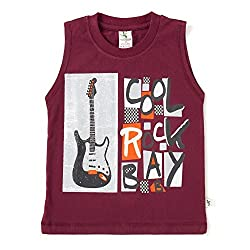 Cucumber Sleeveless Cool Rock Baby Print T-Shirt - Brown (4 to 5 Years)