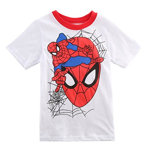 StylesILove Super Hero Soft Cotton Boy Tee Shirt (5, Spiderman White)