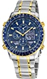 Accurist Men's Quartz Watch with Blue Dial Analogue - Digital Display and Multicolour Stainless Steel Plated Bracelet MB1031N
