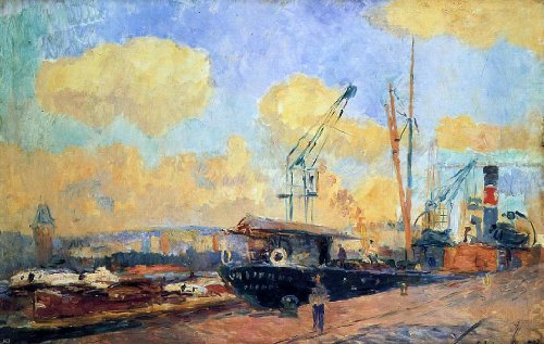 "Albert Lebourg Steamers And Barges In The Port Of Rouen Sunset - 16"" X 24"" Premium Canvas Print Gallery Wrapped front-520162"