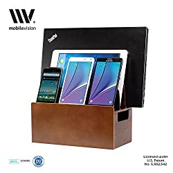 MobileVision Wood Universal Multi Device Organizer Stand and Charging Station for Smartphones, Tablets, and Laptops