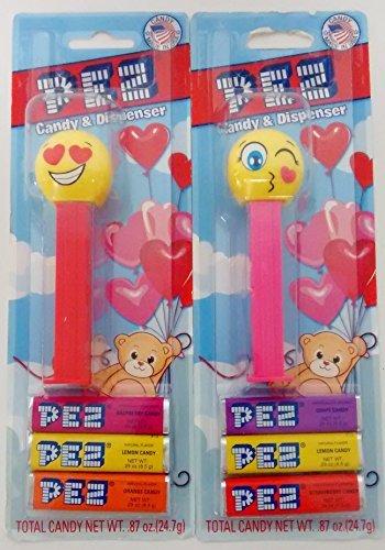 Emoji Winking Heart Eyes Kiss Pez Bundle Valentine Candy Dispenser Pink Red (Kiss Pez Dispensers compare prices)