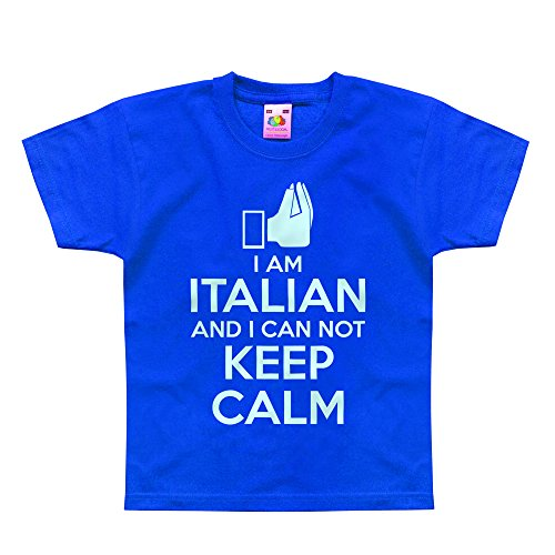 Nutees I Am Italian And I Can Not Keep Calm Unisex Kids T Shirts - Royal Blue 12/13 Years back-909910