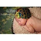 Peacock Feather Pad Baby Headband, Girl, Toddler, Clip, Bridal, Wedding, Photography Prop