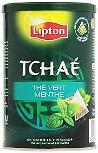 Lipton - Thé Vert - Tchaé Menthe - 25 Sachets Pyramide - Lot de 3