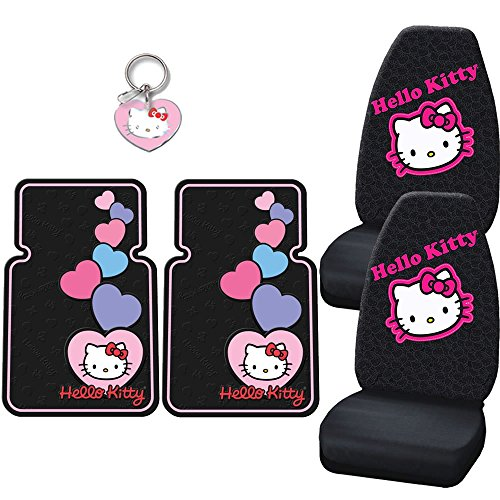 Hello-Kitty-Car-Truck-7-Pcs-Set-2-Front-Seat-Covers-2-Floor-Mats-Key-Ring-Licensed-Plate-Steering-Wheel-Cover-Heart
