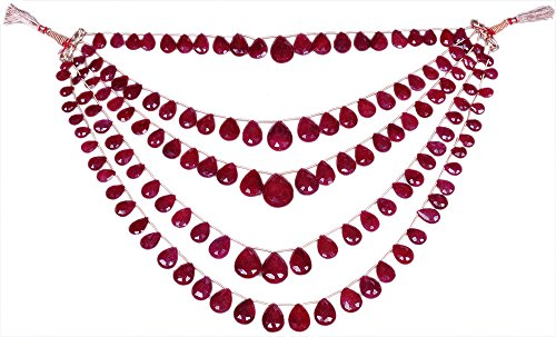 5 Rows of Ruby Gemstone Almond Shape Faceted Bead String