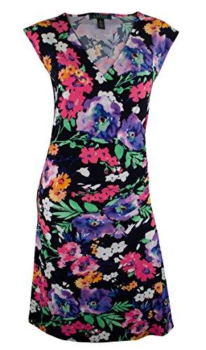 Lauren Ralph Lauren Faux-Wrap Floral Dress (Navy Multi) (Large)