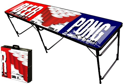 8-Foot Professional Beer Pong Table w/ Optional Glow Lights, Bluetooth Speaker & Holes - Party Pong Logo
