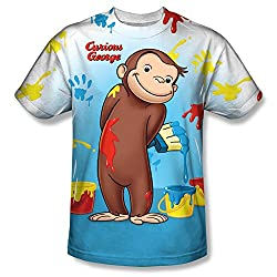 Curious George Paint Everywhere All Over Print Front T-Shirt