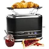 Andrew James 800W Matt Black 2 Slice Toaster With Bagel Warming Rack - 2 Year Warranty - Defrost, Reheat And Cancel Functions, Temperature Control