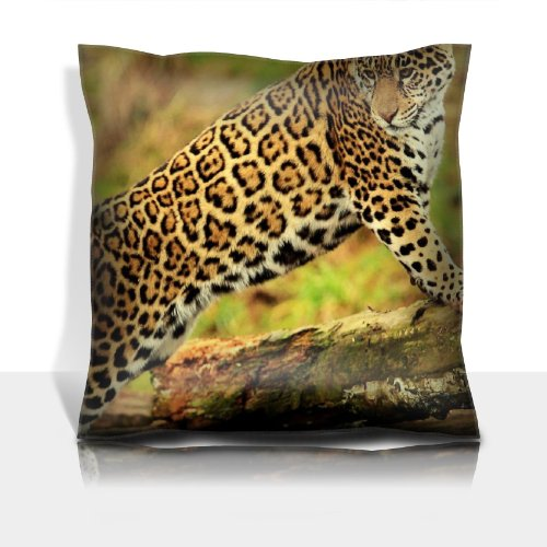 Jaguar Climbing Big Cat Watching 100% Polyester Filled Comfort Square Pillows Customized Made To Order Support Ready Premium Deluxe 17 1/2 Inch X 17 1/2 Inch Liil Graphic Background Covers Designed Color Definition Quality Simplex Knit Fabric Soft Wrinkle front-724833