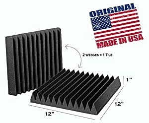 [Mybecca] 4 PACK Acoustic Wedge Soundproofing for Studio & Youtube Recording Wall Tiles 12 X 12 X 1 inch, Made in USA