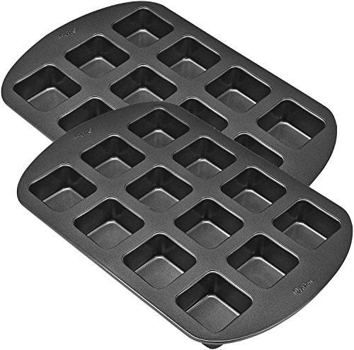 Snack Size Non Stick Brownie Pan by Wilton/Paksh, 12 Cavity Square Brownie Bar Pan - Baking Set Of 2 (Snack Cake Pan compare prices)