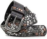 styleBREAKER Nietengürtel im Vintage Design mit echtem Leder, verschiedenen Nieten und Strass, kürzbar, Damen 03010051, Farbe:Dunkelgrau;Größe:95cm