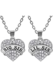 Matching Big Sis Lil Sis Crystal Heart Necklace Set Gift for Little Sister BFF Girls, Teens, Women