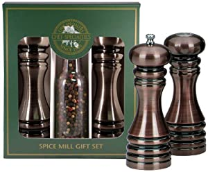 Chef Specialties 7-Inch Burnished Copper Pepper Mill and Salt Shaker Set and Peppercorns by Chef Specialties