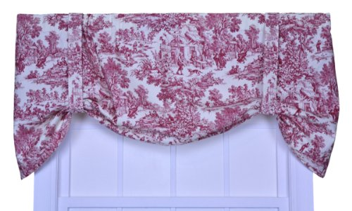 Victoria Park Toile Tie-Up Valence Window Curtain, Red