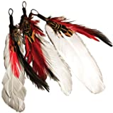Touch of Nature 3-Piece Natural Feather Pick with Nylon Loop for Arts and Crafts, 3.5-Inch, Black/Red/White