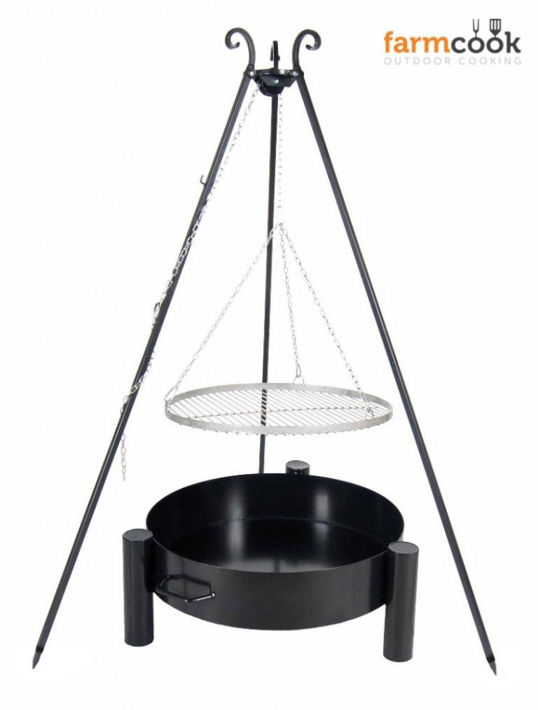 Dreibein Grill VIKING Höhe 180cm + Grillrost aus Edelstahl Durchmesser 50cm + Feuerschale Pan33 Durchmesser 60cm günstig