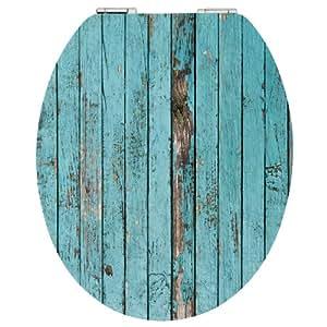 EISL EDHGBW01 Toilet Seat In Blue Wood Design With Soft Close Mechanism Amaz