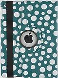 JAMMYLIZARD | Polka 360 Grad rotierende Ledertasche Hülle für iPad 4, iPad 3 und iPad 2, BLAUGRÜN