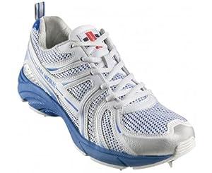 GRAY-NICOLLS Elite Rubber Sole Junior Cricket Shoe, White/Blue, US5