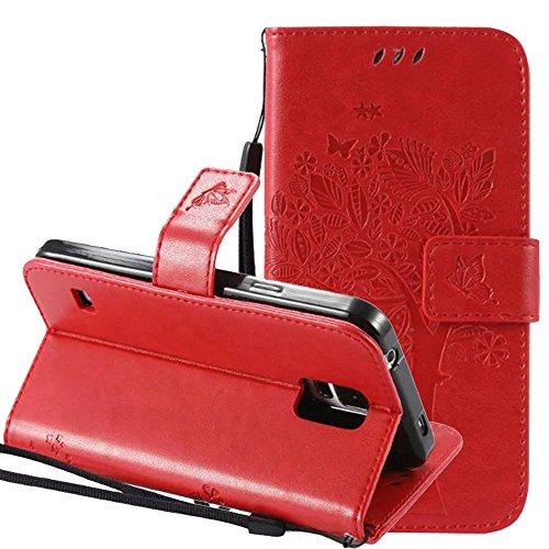 Samsung-Galaxy-S5-Hlle-Cover-Case-Leder-Muster-Flip-Etui-Case-EchtNnopbeclik-Neues-Design-PU-Leather-Luxus-Blume-Case-Handytasche-Imprinting-Baum-Blume-Katze-und-Schmetterling-Kristall-Glitzer-Strass-