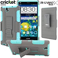 ZTE Grand X Max Case / ZTE Grand X Max+ Case, CellJoy [Full Body Armor] {Teal / Gray} ZTE Grand X Max Z787 / Z987 **ShockProof** Protection Hybrid Case **Kickstand** [Locking Swivel Belt Clip Holster Combo]