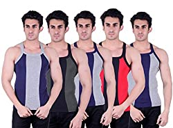 Zimfit Superb Gym Vests - Pack of 5 (BLU_GRN_GRY_RED_GRY_90)