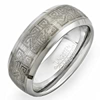 Tungsten Carbide Men's Ring Wedding Band 8MM (5/16 inch) Matte Finish with CELTIC design Comfort Fit (Available in Sizes 8 to 12)
